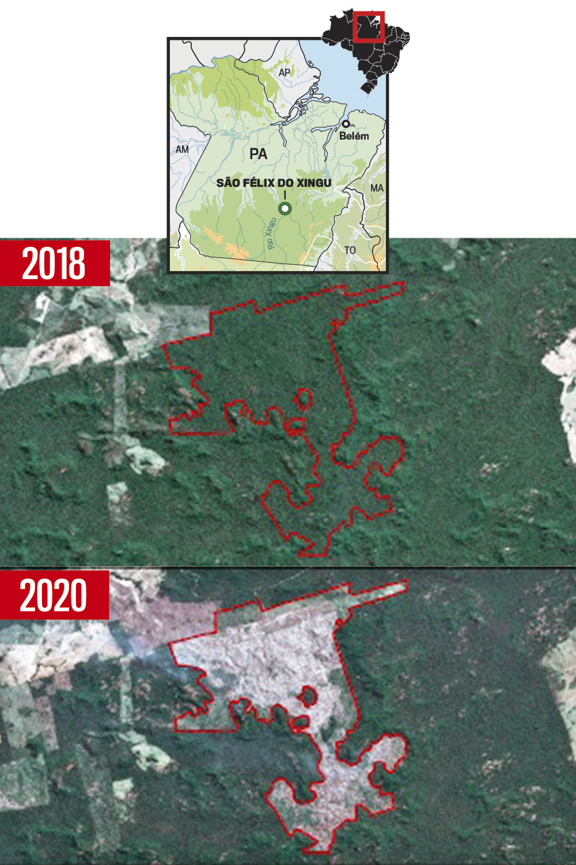 ANTES E DEPOIS -Área desmatada: satélites flagraram as queimadas ilegais -