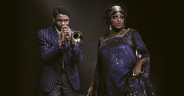 Chadwick Boseman e Viola Davis em cartaz do filme A Voz Suprema do Blues, que estreia na Netflix dia 18 de dezembro