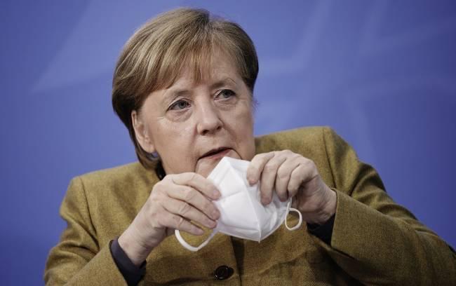 Chanceler da Alemanha, Angela Merkel, durante coletiva em Berlim. 05/01/2021