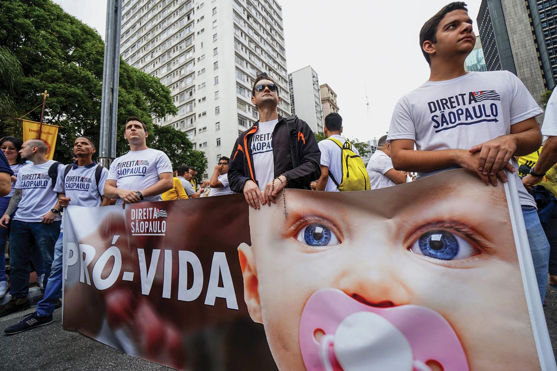 REAÇÃO -Ato contra o aborto em São Paulo: a pressão conservadora tem ameaçado direitos conquistados pelas mulheres -