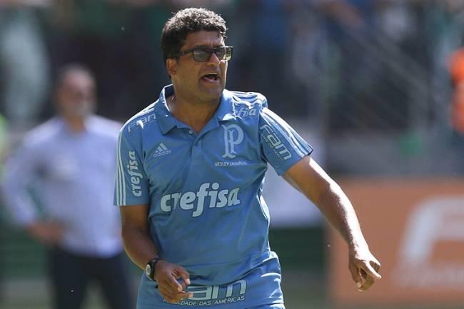 O técnico Wesley Carvalho, do Palmeiras, comandando a equipe como internino -