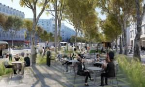 Uma imagem que mostra a remodelação planejada da Champs-Élysées.