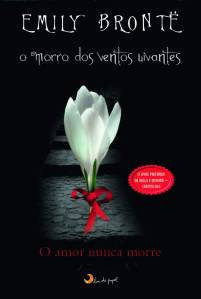 Capa de 'O Morro dos Ventos Uivantes' ao estilo de 'Crepúsculo', publicada pela editora Lua de Papel. Em círculo vermelho, os dizeres 'O livro preferido de Bella e Edward - Crepúsculo'