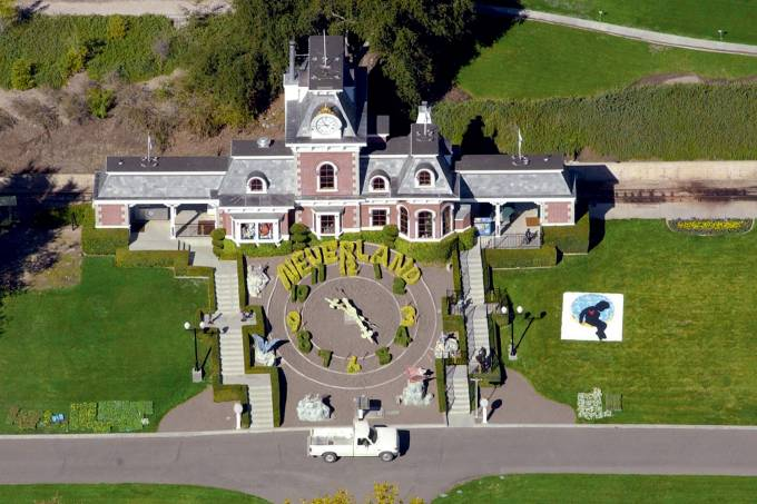 Aerial view of the Neverland Ranch of US pop singer Michael Jackson in Santa Ynez
