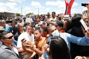 O presidente Jair Bolsonaro, durante visita a Coribe (BA)