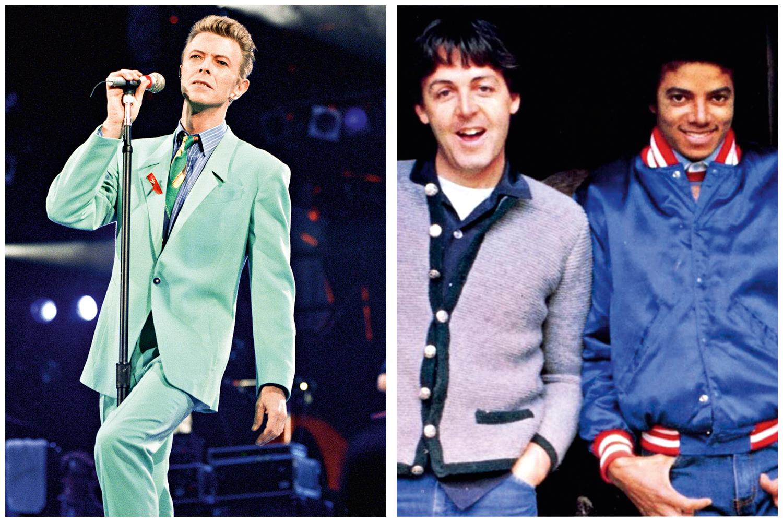 VISIONÁRIOS -Direitos, acima de tudo: Bowie (à esq.) vendeu títulos lastreados a seus discos; McCartney deu a dica — e Jackson comprou catálogo dos Beatles -