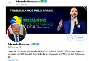 Foto de Donald Trump no twitter de Eduardo Bolsonaro