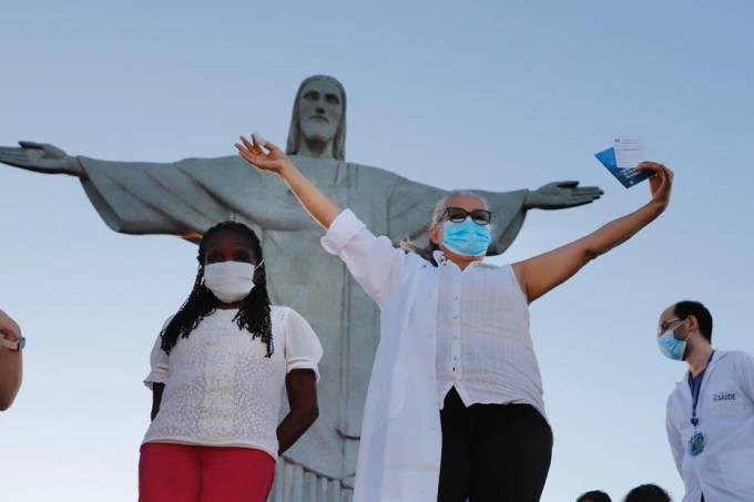 CoronaVac, covid 19, coronavírus, vacinação, Cristo Redentor, Rio de Janeiro