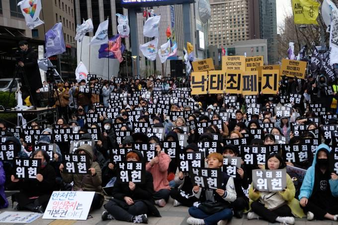 Manifestação pró-aborto realizada em Seul, em março de 2019