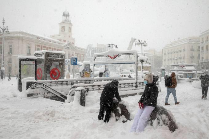Nevasca em Madri, Espanha