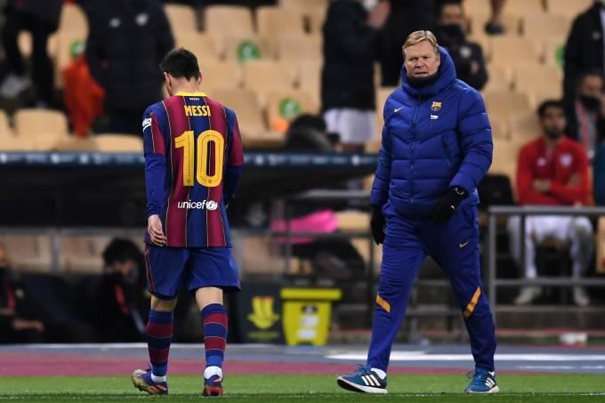 Lionel Messi é expulso na final da Supercopa 2020 FC Barcelona v Athletic Club – Supercopa de Espana Final
