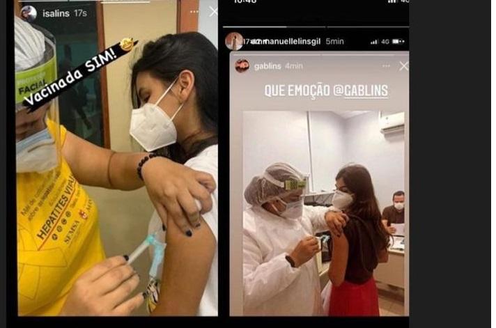 Print dos stories que gerou polêmica após postagem nas redes sociais. Na imagem tem a publicação das duas médicas recém-formadas tomando a vacina contra o COVID -19.