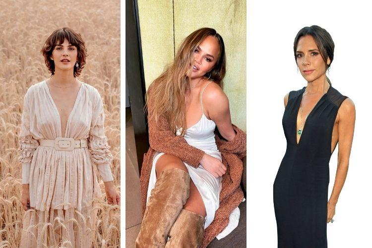 FARTURA -A designer de joias Monica Benini (à esq.), a modelo Chrissy Teigen e a empresária Victoria Beckham: o retorno dos formatos originais -