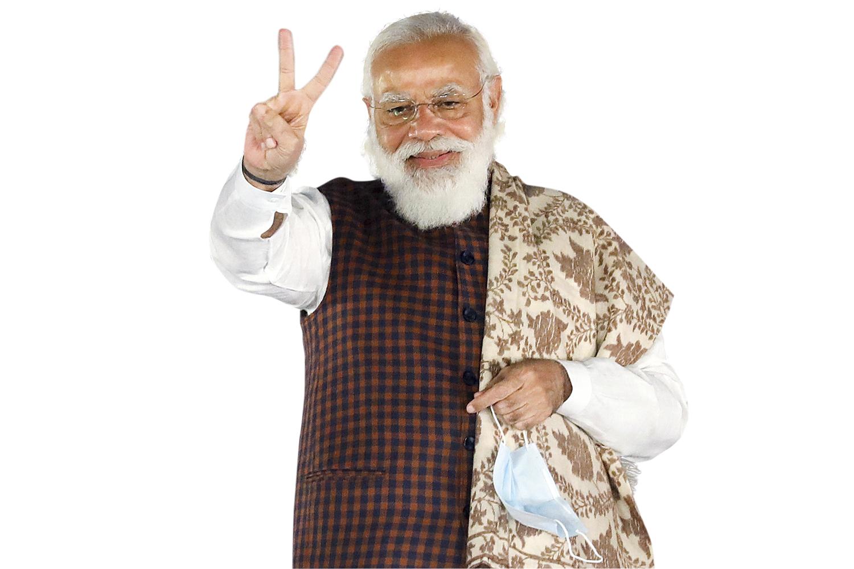 AMBIÇÃO - O populista Modi: aproveitando a chance de ganhar influência e apoio -
