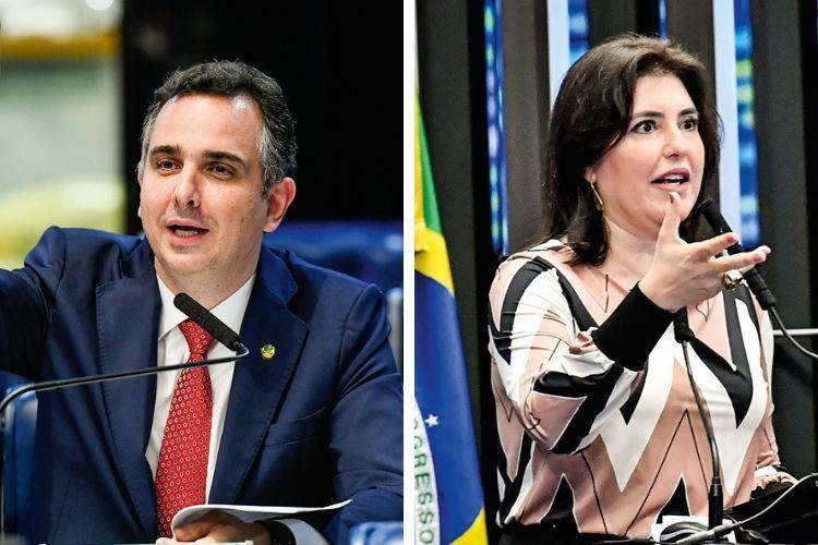NO SENADO- Rodrigo Pacheco, o favorito (à esq.), e Simone Tebet: a pauta econômica é prioridade para os dois candidatos -