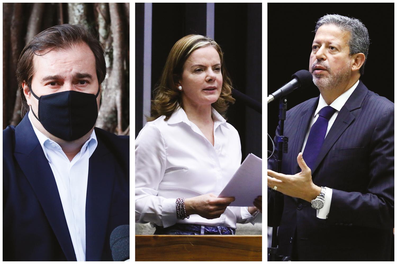 PROTAGONISTAS- Maia, Gleisi e Lira: peças centrais na disputa pela presidência da Câmara -