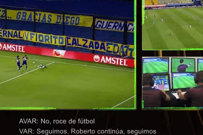 Boca x Santos Conmebol divulgou imagens da cabine do VAR
