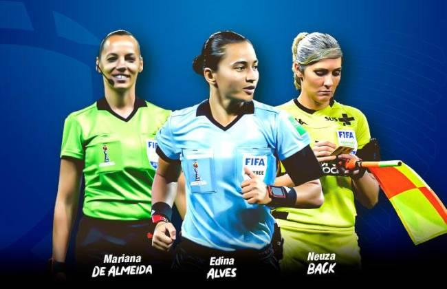 O trio de arbitragem sul-americano, capitaneado por Edina Alves, para o Mundial de Clubes