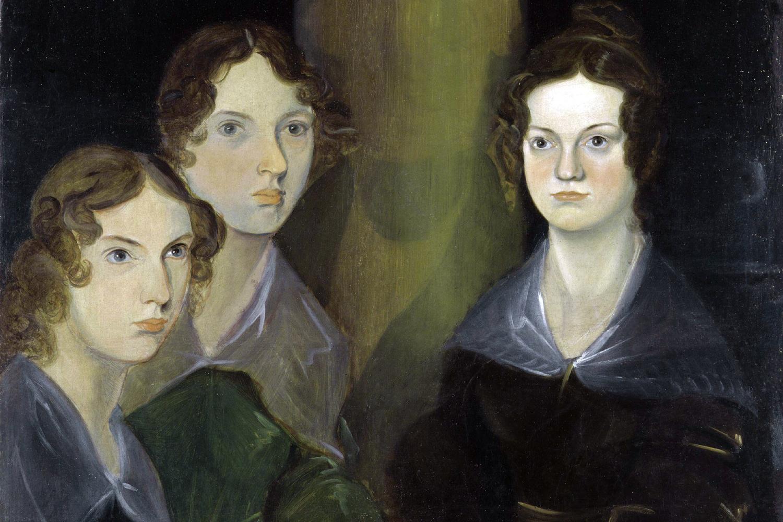 As três irmãs Brontë, retratadas por Patrick Brontë. Da esq. para dir.: Anne, Emily e Charlotte