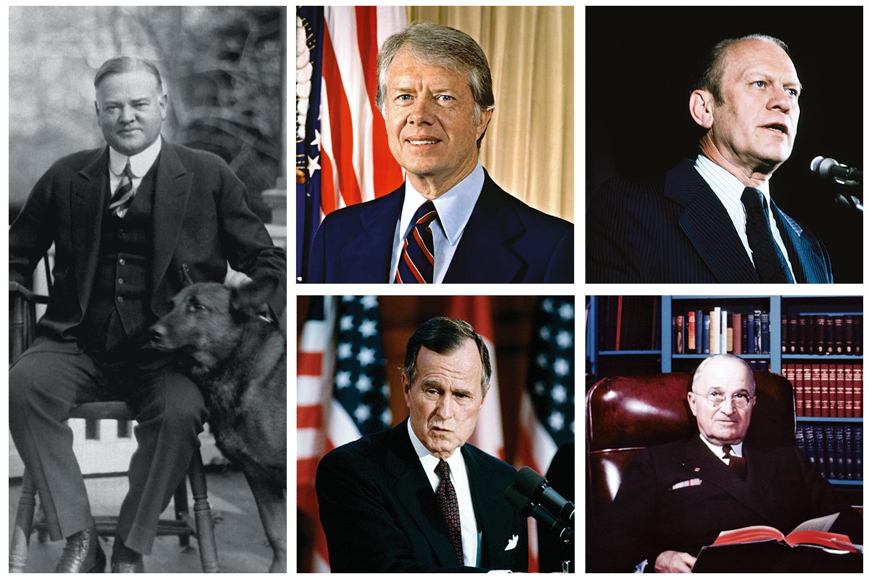 AGORA SÃO SEIS -Nos últimos 100 anos, só cinco presidentes não tinham conseguido se reeleger: em sentido horário, Hoover, Carter, Ford, Truman e George Bush pai. Muito contra a vontade, Donald Trump, o todo-poderoso, entrou para o seletíssimo clube dos derrotados -