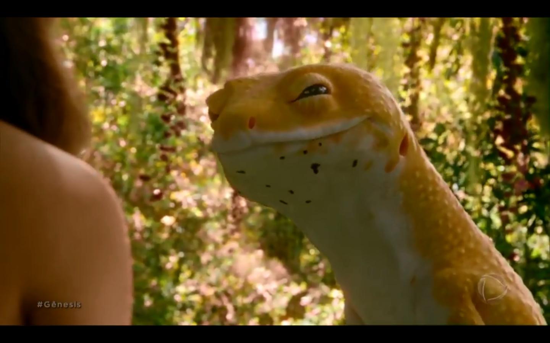 A serpente que conduz Eva ao fruto proibido na novela 'Gênesis' -