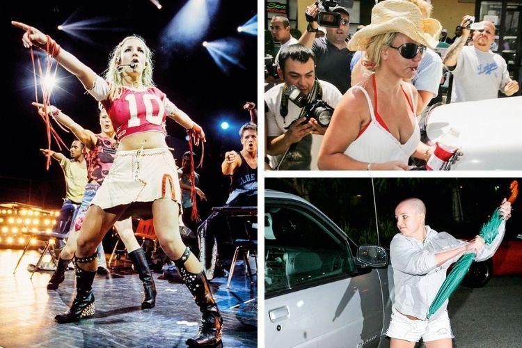 O PREÇO DO SUCESSO - As fases de Britney: à esq., nos tempos de glória como uma Lolita provocativa; acima, a perseguição incansável dos paparazzi; ao lado, a gota d'água, o ataque ao carro do fotógrafo que a perseguia após uma briga com o ex -