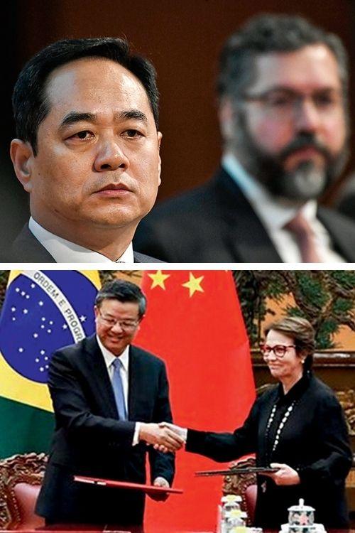 DIPLOMACIA - Em focoWanming com Araújo (acima) e Tereza Cristina (abaixo): a ministra entrou nas negociações e o chanceler foi escanteado -