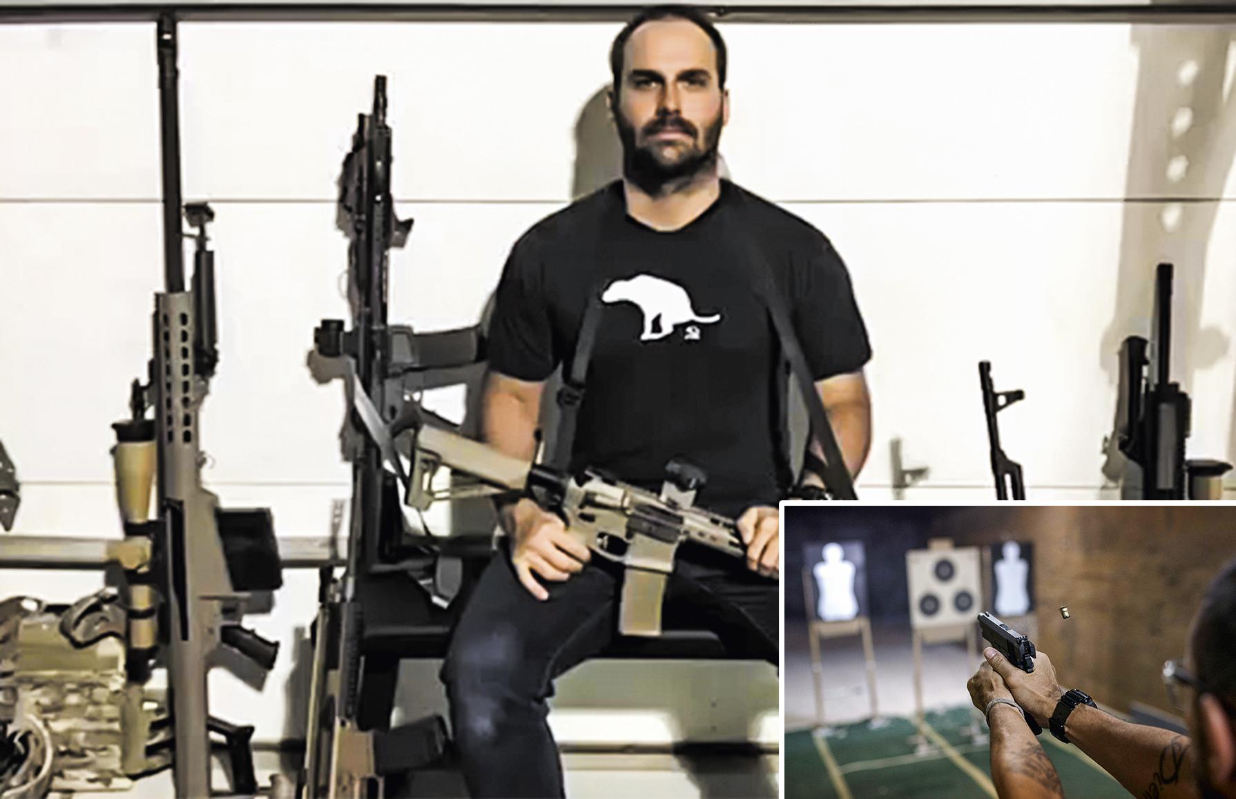 BANDEIRA POLÍTICA -Eduardo Bolsonaro: o deputado é um dos responsáveis por garantir o apoio dos donos de lojas de armas e de entidades de tiro ao governo federal -