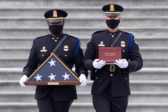 Capitol Police Officer Brian Sicknick Lies In Honor At U.S. Capitol