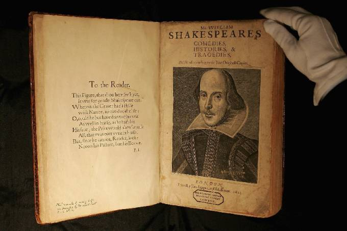 a copy of William Shakespeare, The First Folio 1623 on July 7, 2006 in London, England