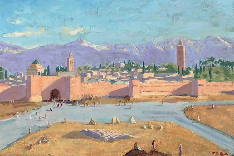 NO MARTELO -A Torre da Mesquita Koutoubia, de 1943: o Marrocos com toques de Claude Monet e William Turner -