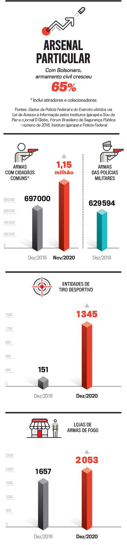 infográfico de armas, explicando sobre o armamento civil com o governo bolsonaro