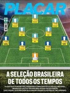Capa da edição de PLACAR da seleção brasileira de todos os tempos