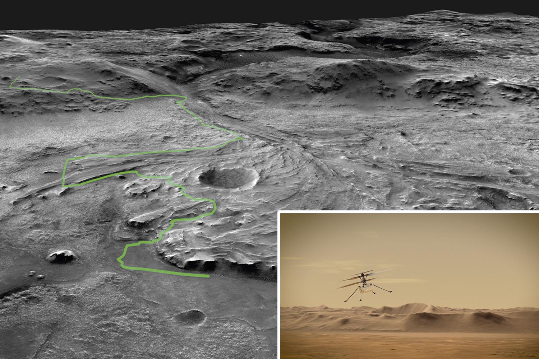 TRILHA E VOO - A possível trajetória do rover na cratera do lago (acima) e o primeiro helicóptero capaz de voar na fina atmosfera marciana (ao lado): criatividade humana em um mundo alienígena -