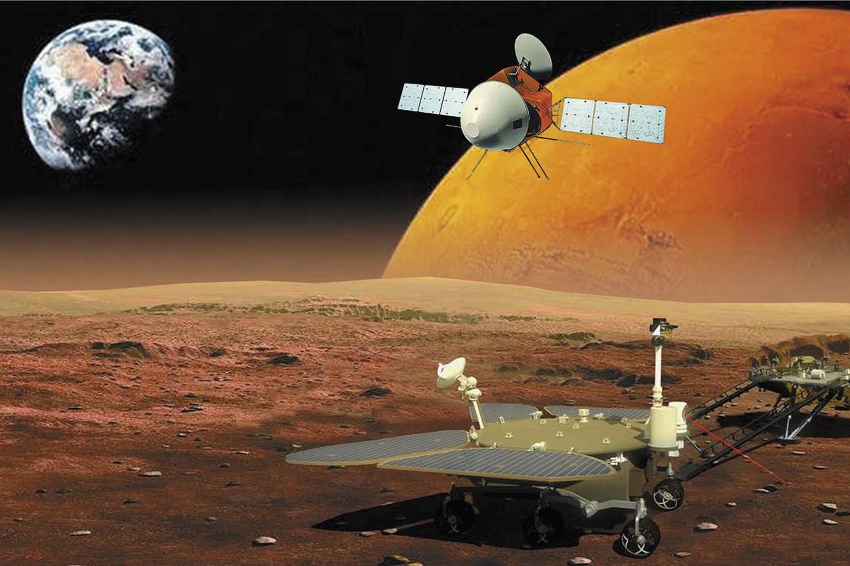 AÇÃO SIMULTÂNEA - Uma sonda na órbita de Marte e, na superfície, nave de pouso e um rover: importante conquista chinesa -