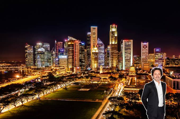 Singapore Business District Skyline at Night