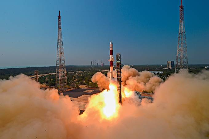 India's PSLV-C51, takes off from Satish Dhawan Space Centre SHAR, in Sriharikota