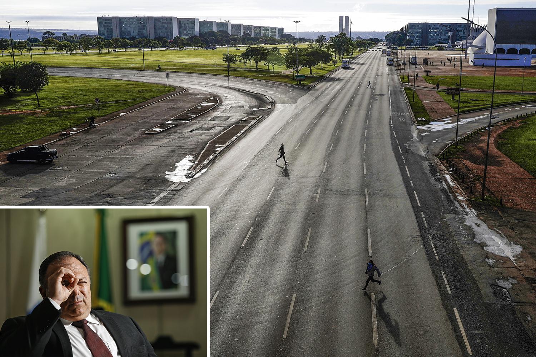 """DESOLAÇÃO -Pazuello e a cidade de Brasília fechada (ao lado): """"A situação fugiu completamente do controle"""" -"""
