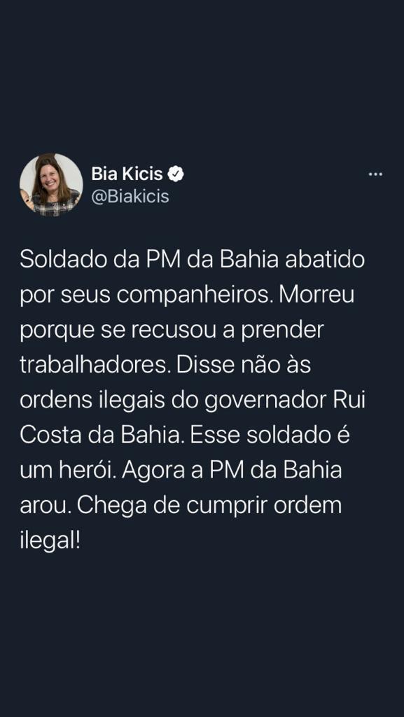 Tuíte da deputada federal Bia Kicis (PSL-DF) sobre a morte de PM na Bahia; depois, ela apagou