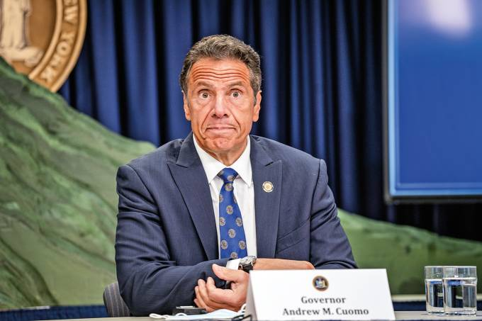 New York Governor Cuomo Holds Briefing In Manhattan