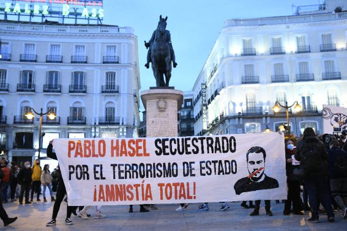 Protest Against The Sentence Of Catalan Rapper Pablo Hasel in Spain
