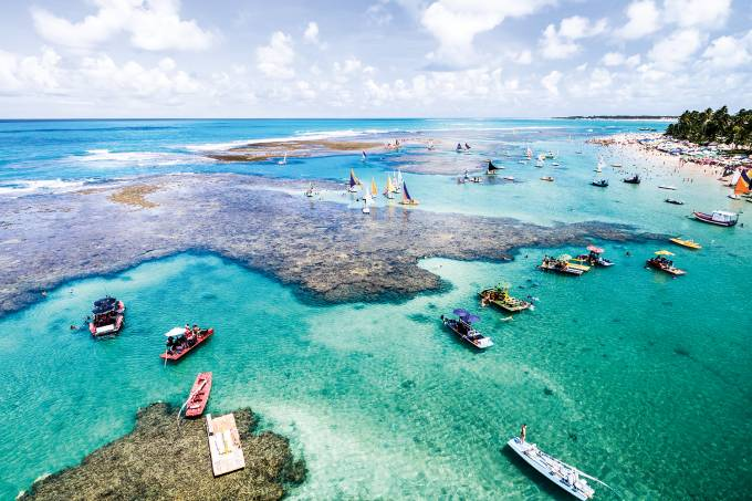 Aerial View of Porto de Galinhas located in the state of Pernambuco in Brazil