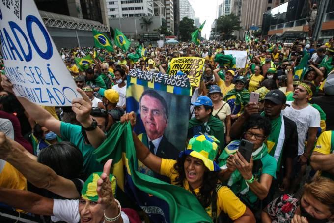 Caravan of Supporters of President Jair Bolsonaro in Sao Paulo