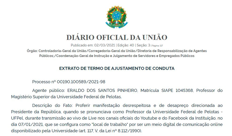 TAC assinada por Eraldo dos Santos Pinheiro