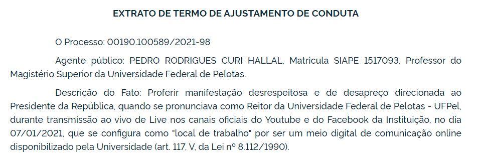 TAC assinada por Pedro Hallal