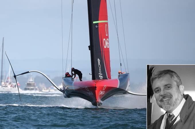 O AC75 com o qual o Emirates Team Nw Zealand conquistou a America's Cup e o engenheiro Manoel Chaves