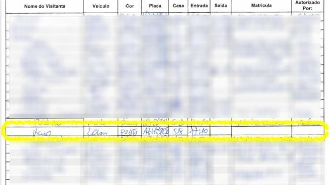 Planilha com anotação da casa do presidente Jair Bolsonaro