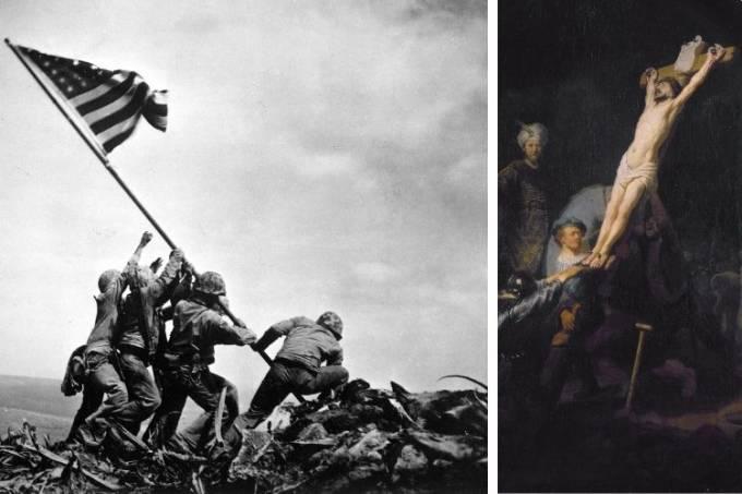 A bandeira americana fincada em Iwo Jima (1945) eOErguimento da Cruz, de Rembrandt, tela a óleo de 1633: as similaridades parecem gritar