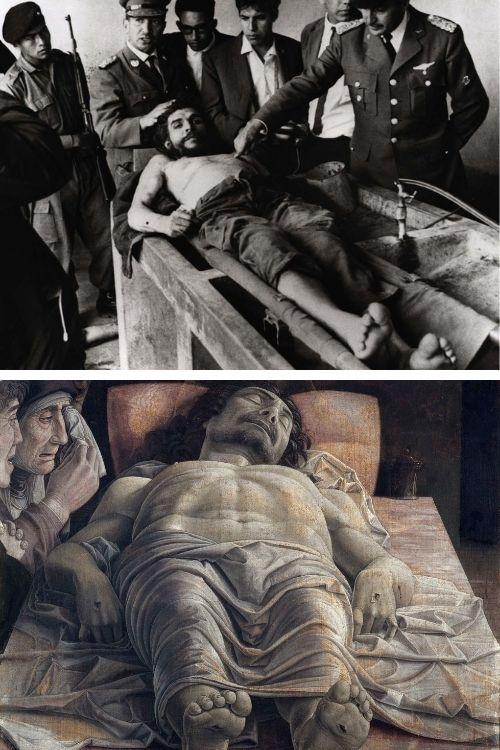 Che Guevara assassinado na Bolívia (1967) e Lamentação sobre o Cristo Morto, de Andrea Mantegna, pintado no final do século XV