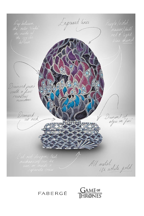Desenho do exterior do ovo de dragão Fabergé inspirado em 'Game of Thrones', cravejado de diamantes e outras pedras preciosas